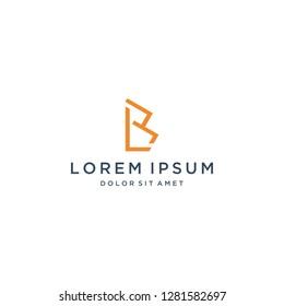 Unique logo design monogram or initial letter BL vector template