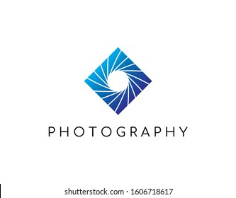 Unique Logo of Photography with Modern Concept. Design with Aperture and Shutter Image Isolated on White Background. Suitable for Photography Studio Business Logo. Vector Illustration.