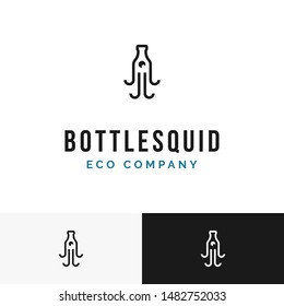 An unique logo. This logo is a combination of plastic bottles and squid. suitable for environmentally friendly campaign or environmentally friendly product industry