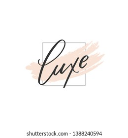 Unique Luxe lettering logo illustration. Calligraphy flat icon for your business. Cosmetic, spa, nail or hair care company identity. Advertising web startup design. Chic style. Vector isolated sign.