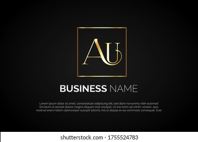 Unique luxury Au monogram for Initial Letter Logo For Your Company, Business, Association. Alphabet Logo Template Ready For Use, Modern Initial Logo