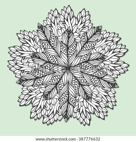 Unique Mandala With Leaves Round Zentangle For Coloring Book Pages Circle Ornament Pattern Jpg 450x470
