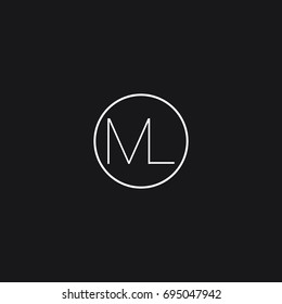 Unique minimal elegant clean connected circular shaped fashion brands black and white color ML M L initial based letter icon logo.