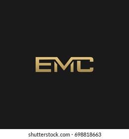Unique modern creative clean connected fashion brands black and gold color EMC EM MC EC CM CE ME initial based letter icon logo.