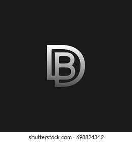 Unique modern creative clean connected fashion brands black and silver color DB BD D B  initial based letter icon logo.