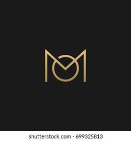 Unique modern creative elegant artistic black and gold color MO OM M O initial based letter icon logo.
