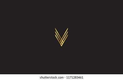 unique modern creative elegant geometric fashion brands black and gold color V initial based logo design