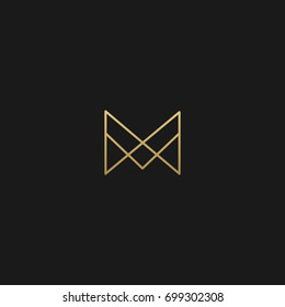 Unique modern creative elegant geometric fashion brands black and gold color MM M initial based letter icon logo.