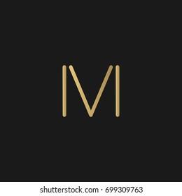 Unique modern creative elegant geometric artistic black and gold color MV VM M V initial based letter icon logo.