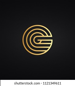 Unique modern creative elegant luxurious artistic black and gold color G initial based letter icon logo