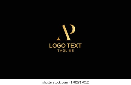 Unique modern creative elegant luxurious artistic gold and black color AP initial based letter icon logo