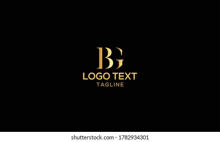 Unique modern creative elegant luxurious artistic gold and black color BG initial based letter icon logo