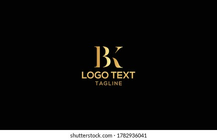 Unique modern creative elegant luxurious artistic gold and black color BK initial based letter icon logo
