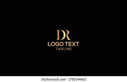 Unique modern creative elegant luxurious artistic gold and black color DR initial based letter icon logo