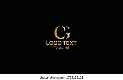 Unique modern creative elegant luxurious artistic gold and black color CG initial based letter icon logo