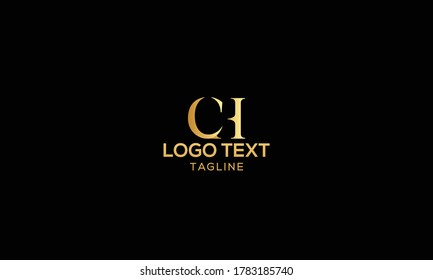 Unique modern creative elegant luxurious artistic gold and black color CH initial based letter icon logo