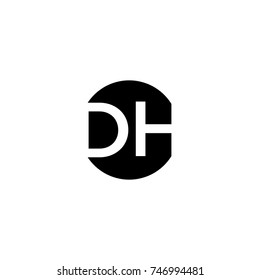 Unique modern creative minimal circular shaped fashion brands black and white color DH HD D H initial based letter icon logo.