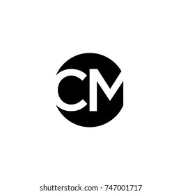 Unique modern creative minimal circular shaped fashion brands black and white color CM MC C M initial based letter icon logo.