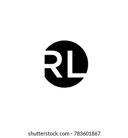 Unique modern creative minimal circular shaped fashion brands black and white color RL LR R L initial based letter icon logo.