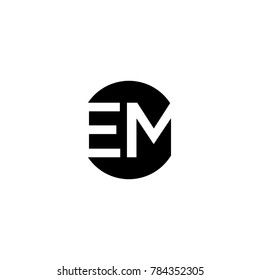 Unique modern creative minimal circular shaped fashion brands black and white color EM ME E M initial based letter icon logo.