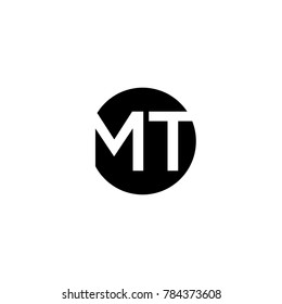 Unique modern creative minimal circular shaped fashion brands black and white color MT TM M T initial based letter icon logo.