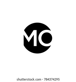 Unique modern creative minimal circular shaped fashion brands black and white color MO OM M O initial based letter icon logo.
