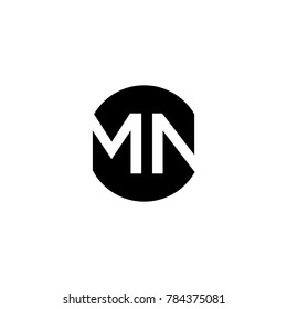 Unique modern creative minimal circular shaped fashion brands black and white color MN NM M N initial based letter icon logo.
