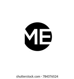 Unique modern creative minimal circular shaped fashion brands black and white color ME EM ME initial based letter icon logo.