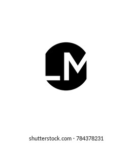 Unique modern creative minimal circular shaped fashion brands black and white color LM ML L M initial based letter icon logo.
