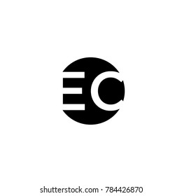 Unique modern creative minimal circular shaped fashion brands black and white color EC CE E C initial based letter icon logo.