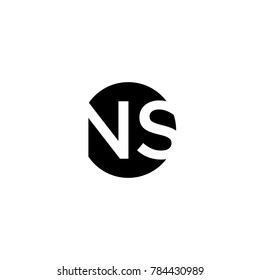 Unique modern creative minimal circular shaped fashion brands black and white color NS SN N S initial based letter icon logo.