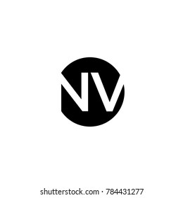 Unique modern creative minimal circular shaped fashion brands black and white color NV VN N V initial based letter icon logo.