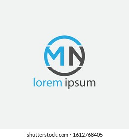 Unique modern creative MN logo.