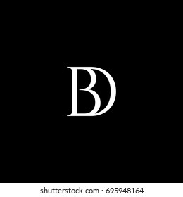 Unique modern creative stylish artistic black and white color DB BD D B initial based letter icon logo.