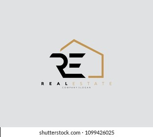 Unique modern house logo letter RE