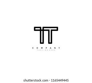Unique Modern Letter TT Linked Monogram Logotype Vector