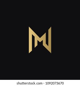 Unique modern minimal attractive NM MN N M connected unusual artistic black and gold color initial based letter icon logo.