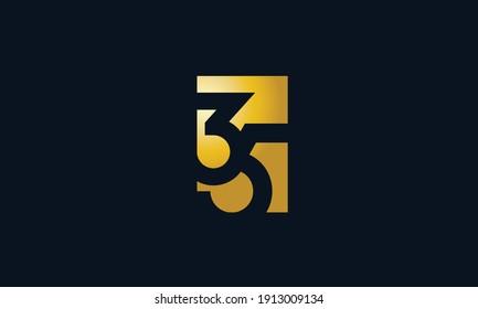 Unique Modern Number 35 Logo