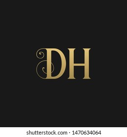 Unique modern stylish geometric pattern DH initial based letter icon logo