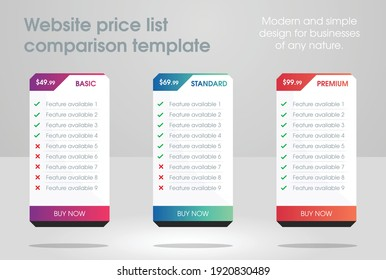 unique and modern website business plan template with three price list comparison tables with beautiful colors. Best for professional web design or other business related posters and menus.