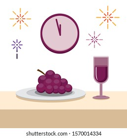 unique new year tradition in spain grape with wine flat illustration editable vector