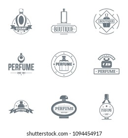Unique perfume logo set. Simple set of 9 unique perfume vector logo for web isolated on white background