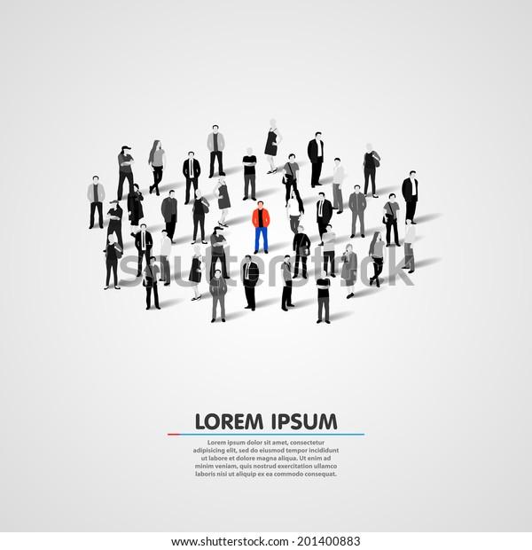 Unique person in the crowd. Vector illustration