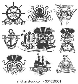 Unique pirate tattoo, logo set. Perfect for t-shirt.