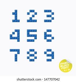 Unique Pixel Block Alphabet, Letters, Illustration, Sign, Icon, Symbol for Baby, Family, Education