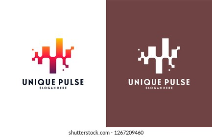 Unique Pulse Logo template designs vector illustration, Pixel Pulse logo symbol