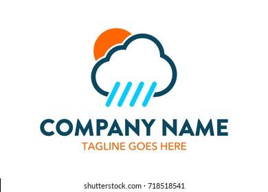 Unique Rain Weather Cloud Logo Template