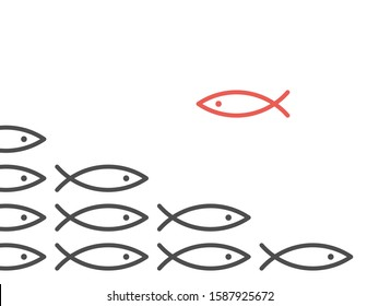 Unique red fish against shoal of many black. Opposition, conflict, contradiction, courage, society and discrimination concept. Flat design. EPS 8 vector illustration, no transparency, no gradients