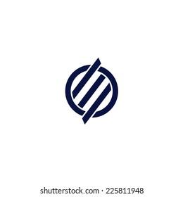 Unique rotated letter E vector logo