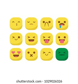 Unique round emoji emoticon smiley icon set vector isolated, suitable for your feelings content